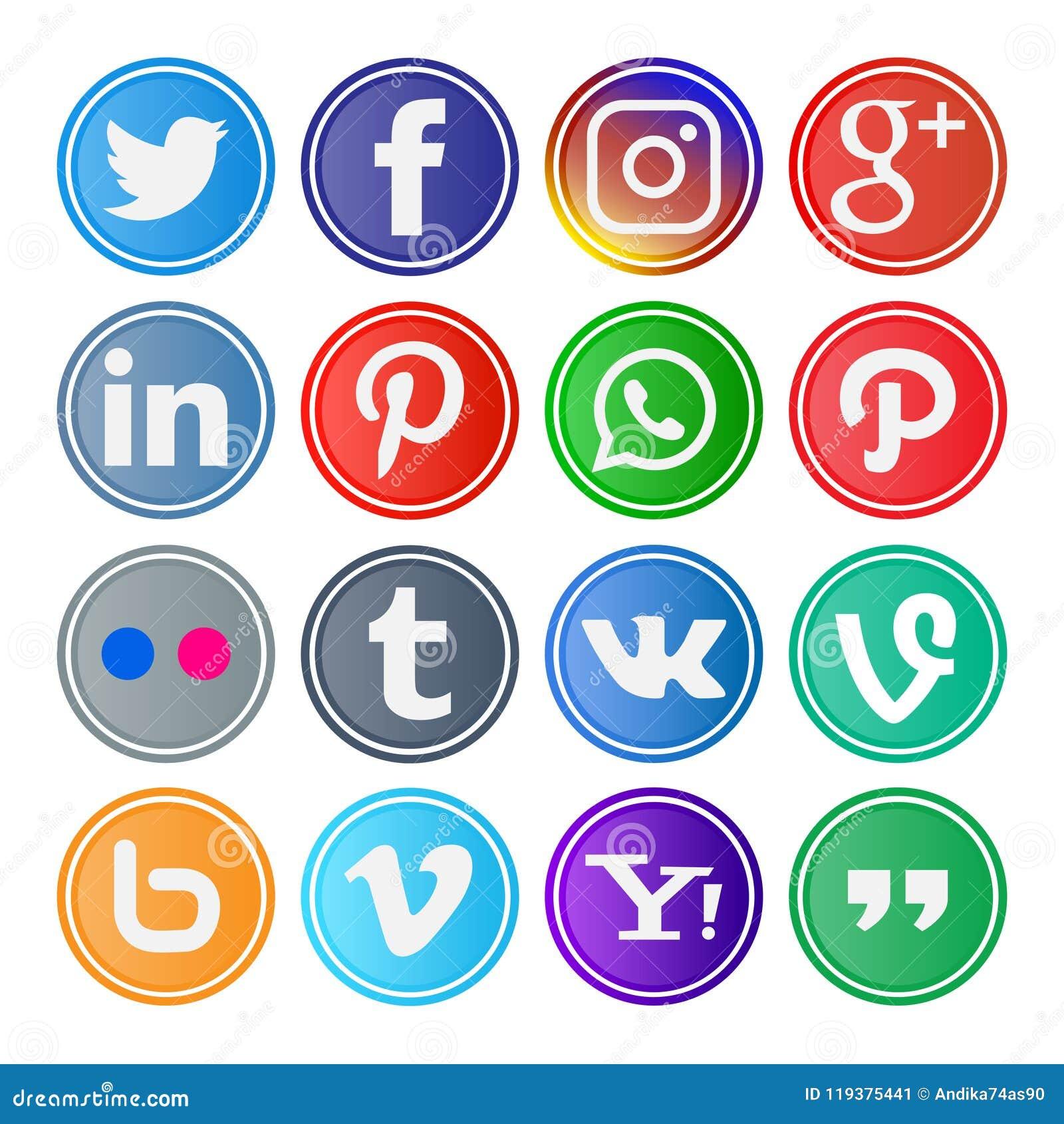 16 reeks rond gemaakte sociale media pictogrammen en knopen