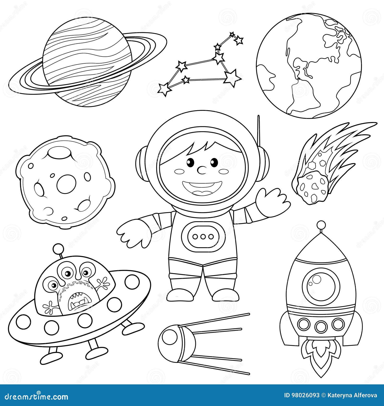 Reeks Ruimteelementen Astronaut, Aarde, Saturnus, maan, UFO, raket, komeet, constellatie, spoetnik en sterren
