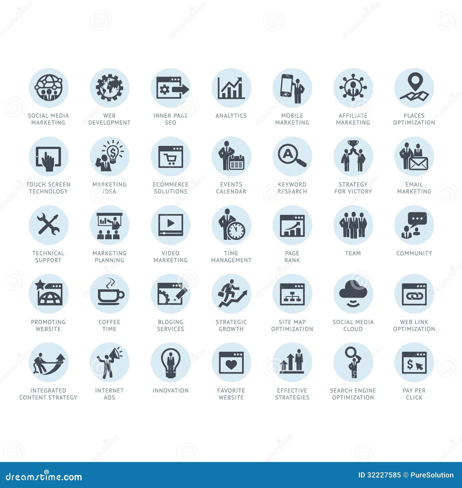 Reeks SEO-de bedrijfdienst en Internet-marketing pictogrammen