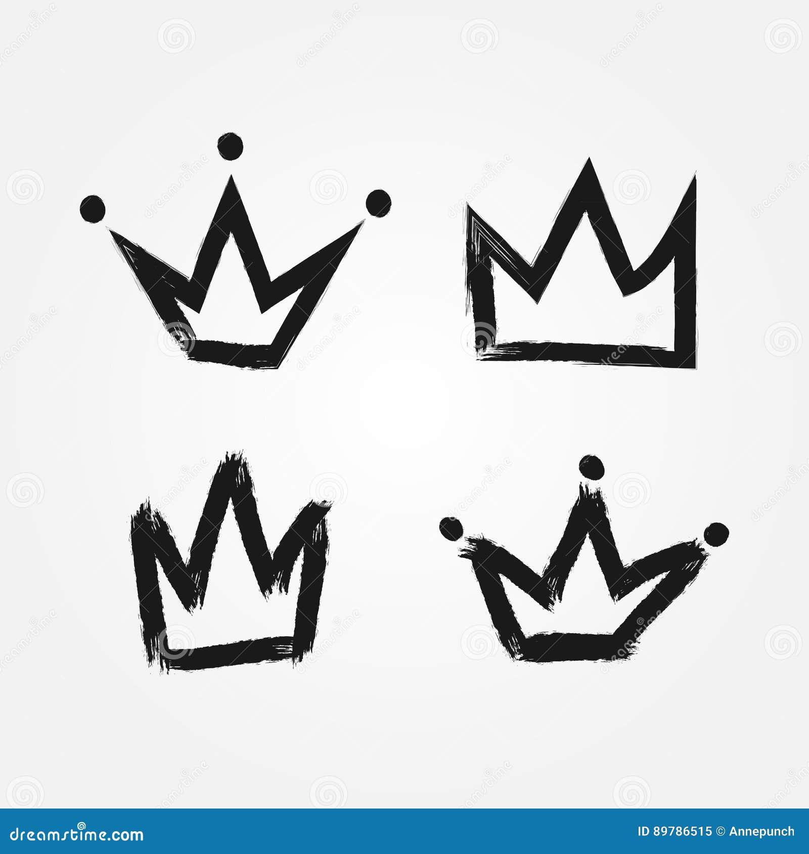 Reeks silhouetten van kronen Met de hand geschilderd met een ruwe borstel