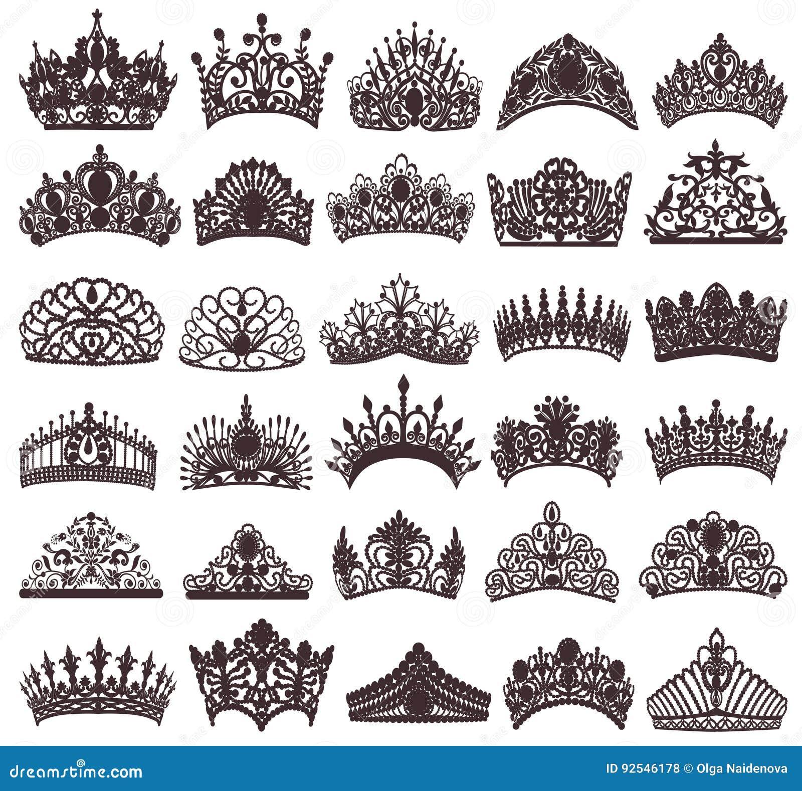 Reeks silhouetten van oude kronen, tiara s, tiara