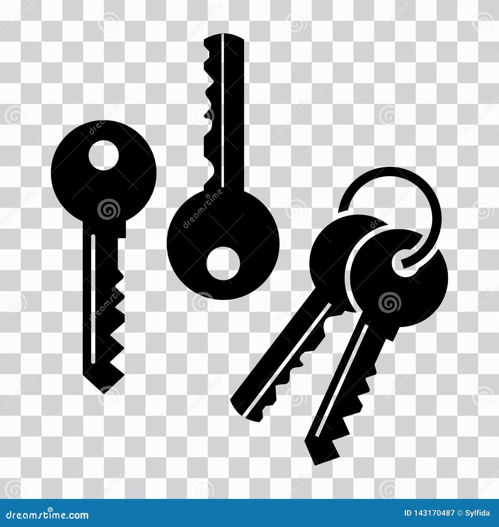 Reeks sleutels, zwarte silhouetten Vector illustratie