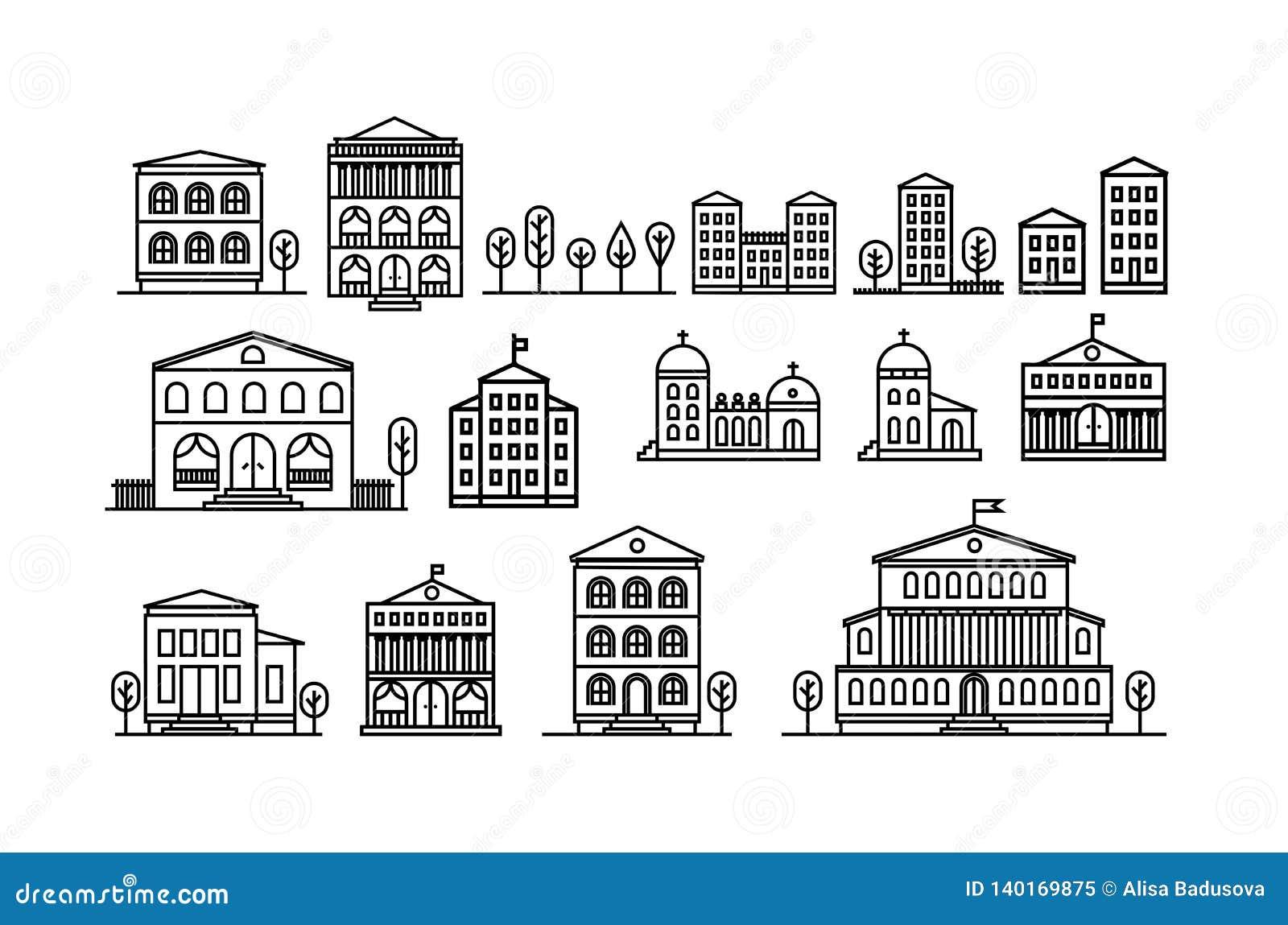 Reeks stedelijke en in de voorsteden huizenpictogrammen Vector illustratie