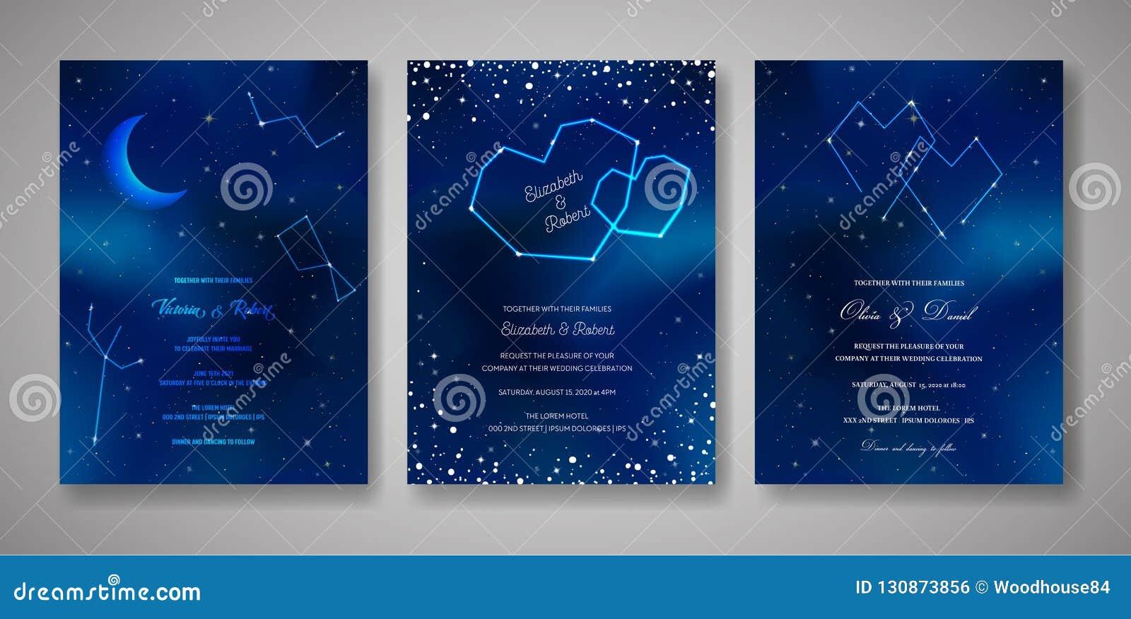 Reeks Sterrige de Uitnodigingskaarten van het Nachthuwelijk, sparen de Datum Celestial Template van Melkweg, Ruimte, Sterren, in