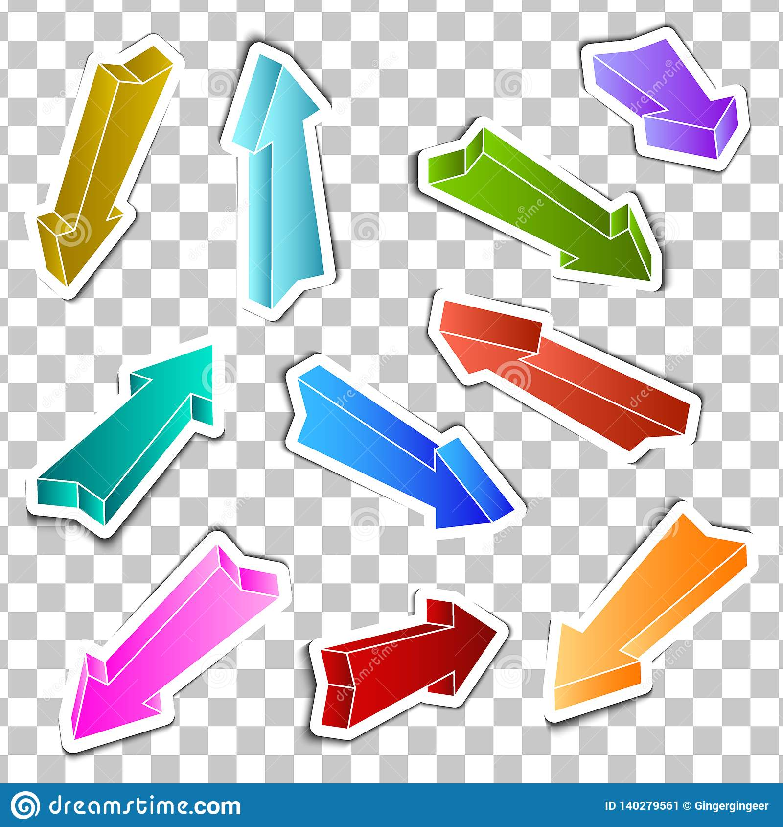 Reeks stickers gekleurde pijlen