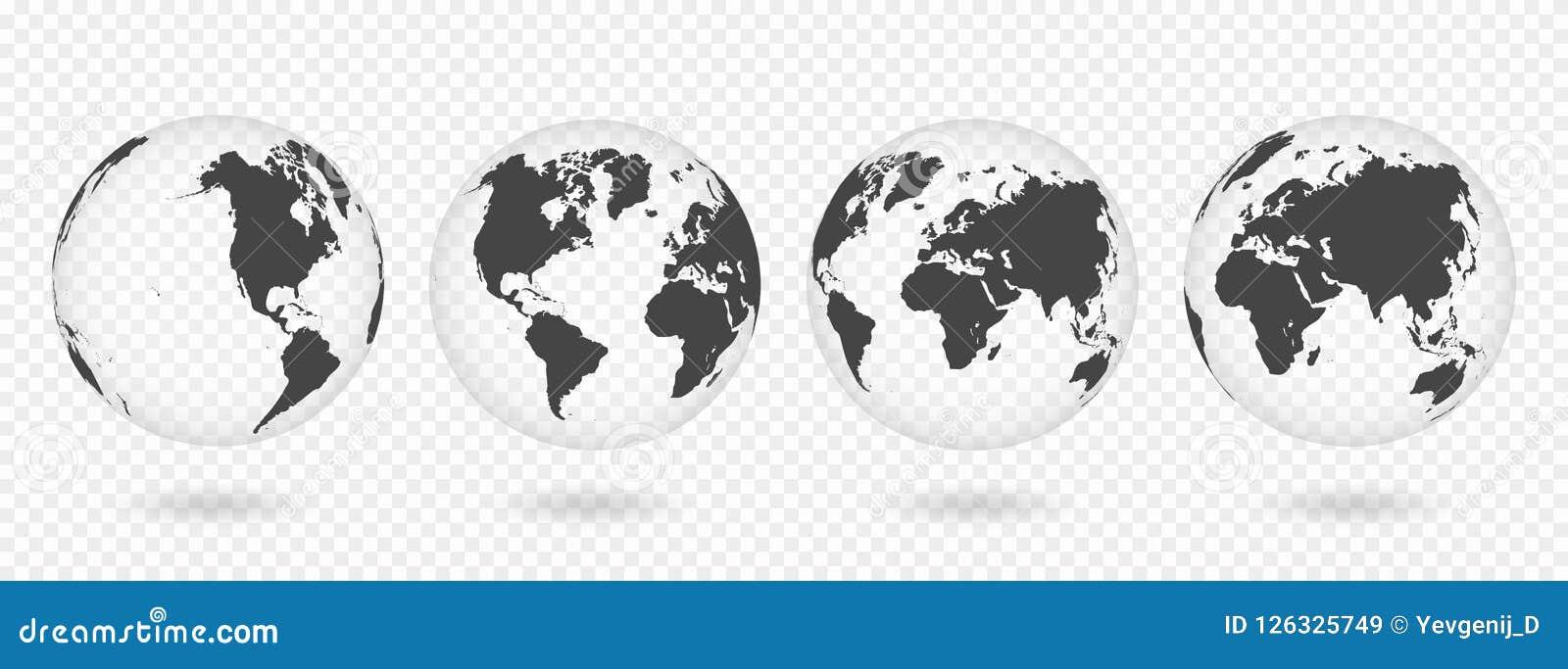 Reeks transparante bollen van Aarde Realistische wereldkaart in bolvorm met transparante textuur en schaduw