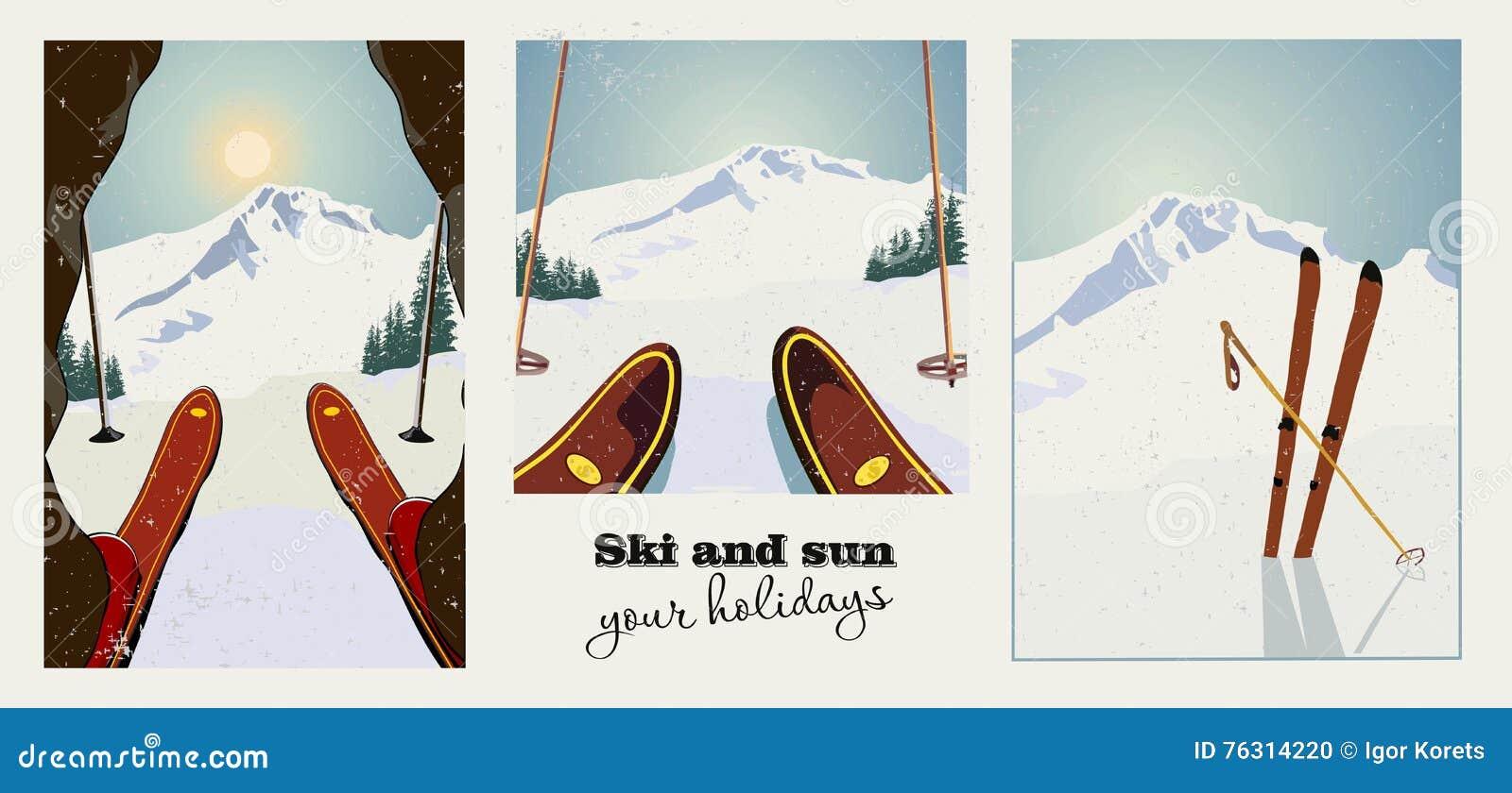 Reeks uitstekende affiches van de de winterski Skiër die bereid om de berg te dalen worden De achtergrond van de winter