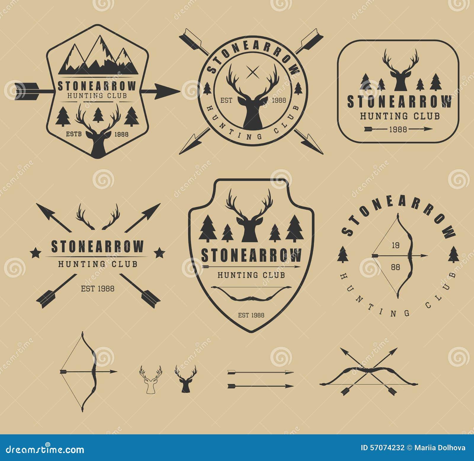 Reeks uitstekende de jachtemblemen, etiketten, kentekens en elementen