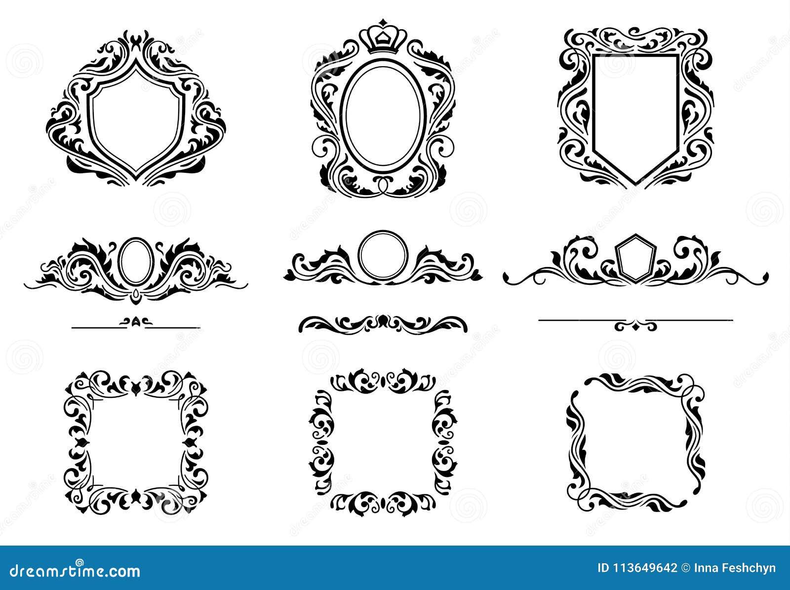 Reeks Uitstekende Elementen van het Decoratiekader Bloeit Kalligrafische Ornamenten, Grenzen en Kaders Retro stijlinzameling