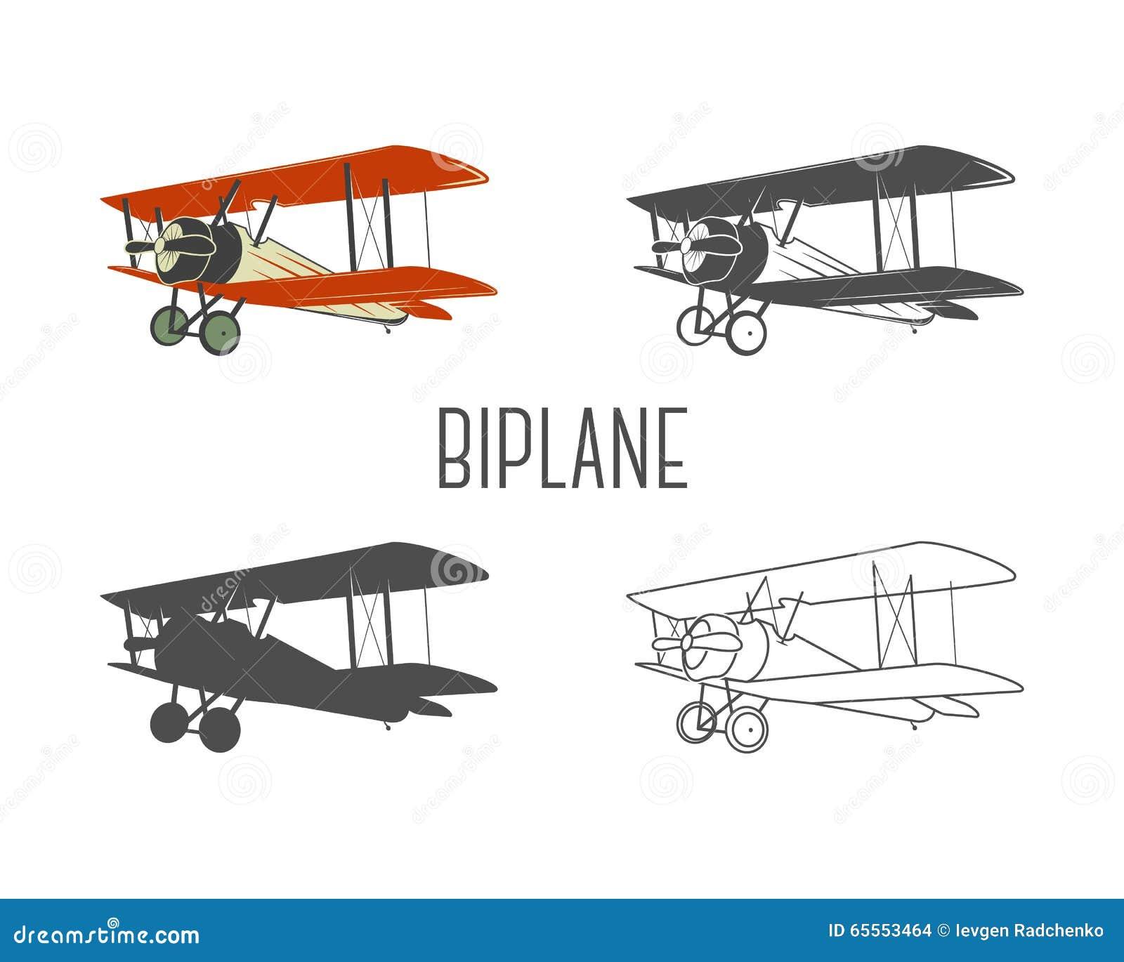Reeks uitstekende elementen van het vliegtuigenontwerp Retro Tweedekkers in kleur, lijn, silhouet, zwart-wit ontwerpen Luchtvaart