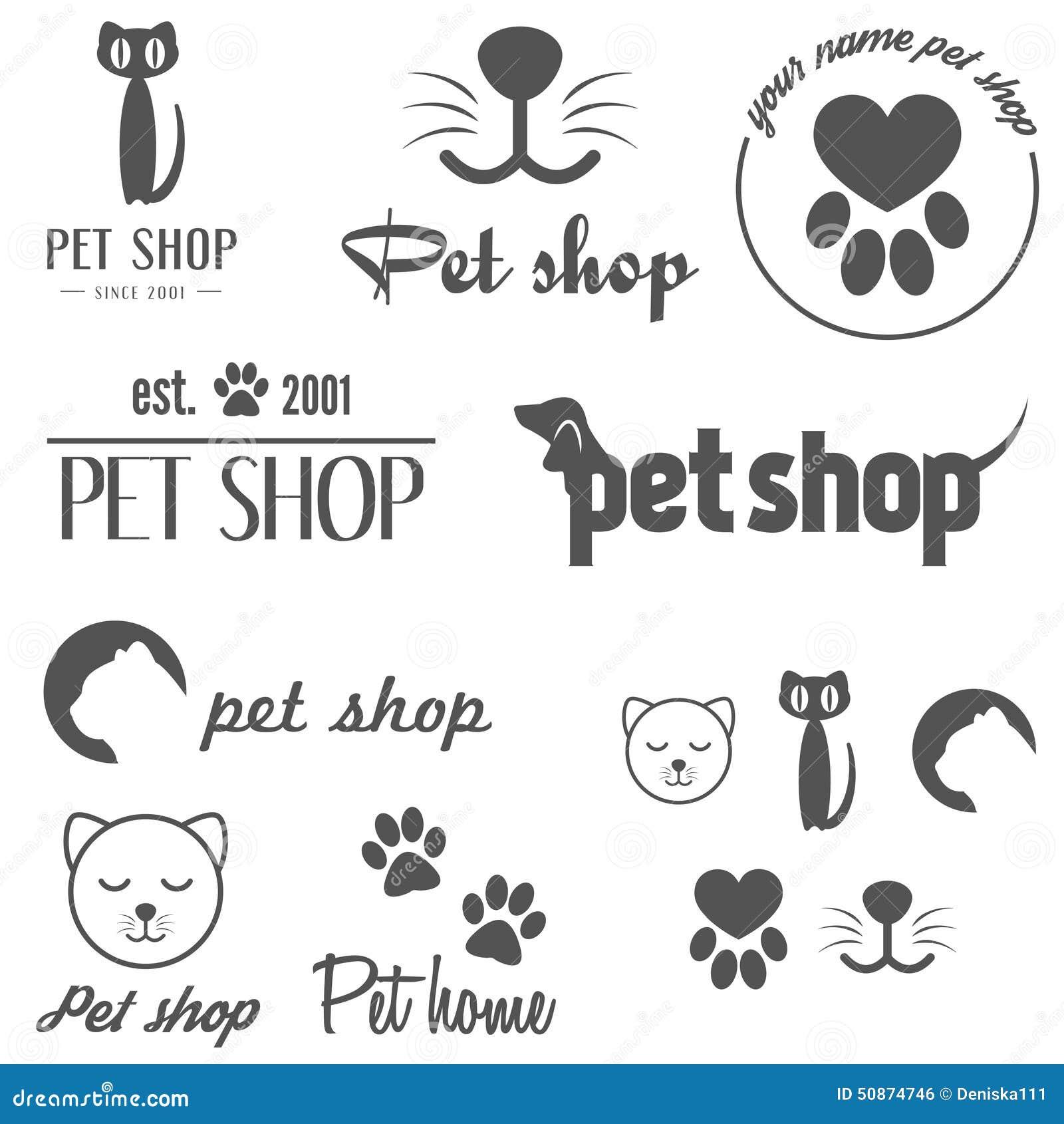 Reeks uitstekende embleem en logotype elementen voor huisdier