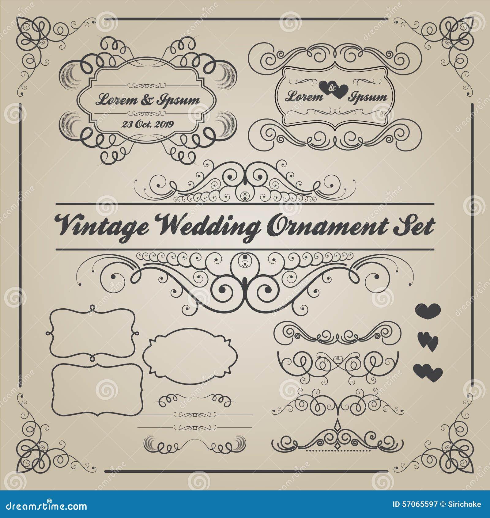Reeks uitstekende huwelijksornamenten en decoratieve elementen