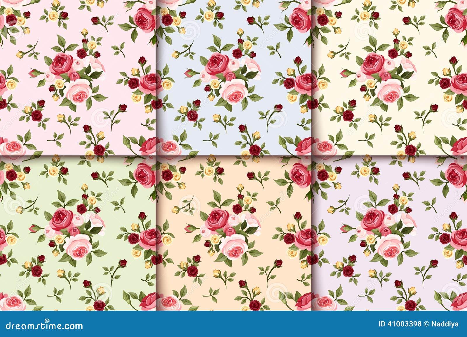 Reeks uitstekende naadloze patronen met rozen Vector eps-10