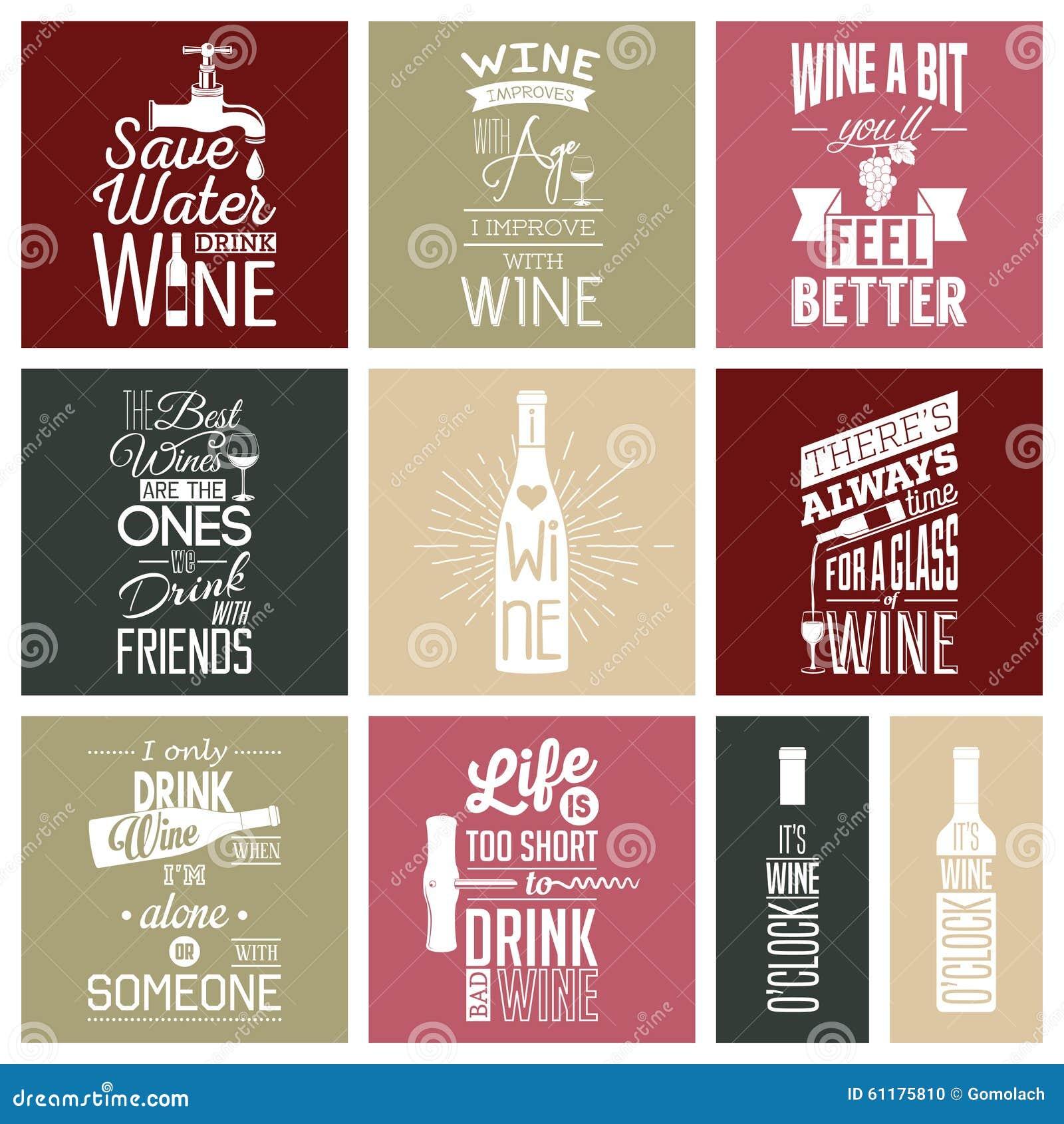 Citaten Wijn : Reeks uitstekende wijn typografische citaten vector
