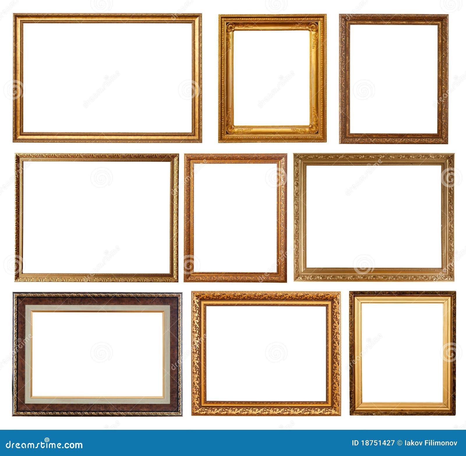 Reeks van 9 gouden frames stock afbeelding. Afbeelding bestaande uit ...