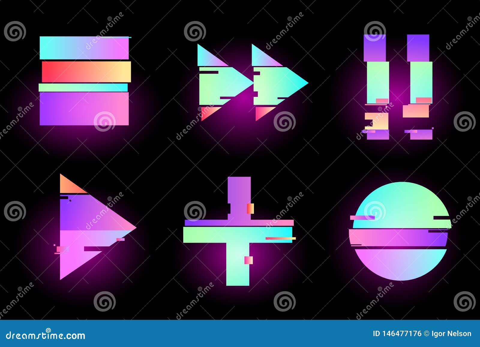 Reeks van abstract minimaal malplaatjeontwerp voor het brandmerken, retro reclame, synthwave holografisch in geometrische glitch