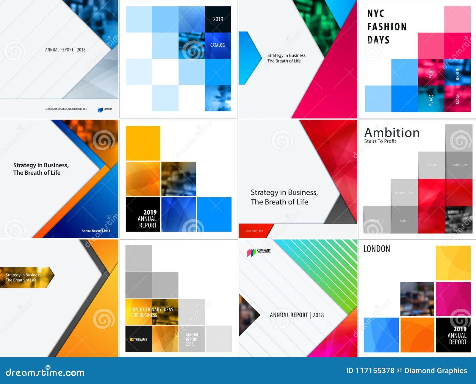 Reeks van abstract vectorontwerp voor grafisch malplaatje Creatieve moderne bedrijfsachtergrond