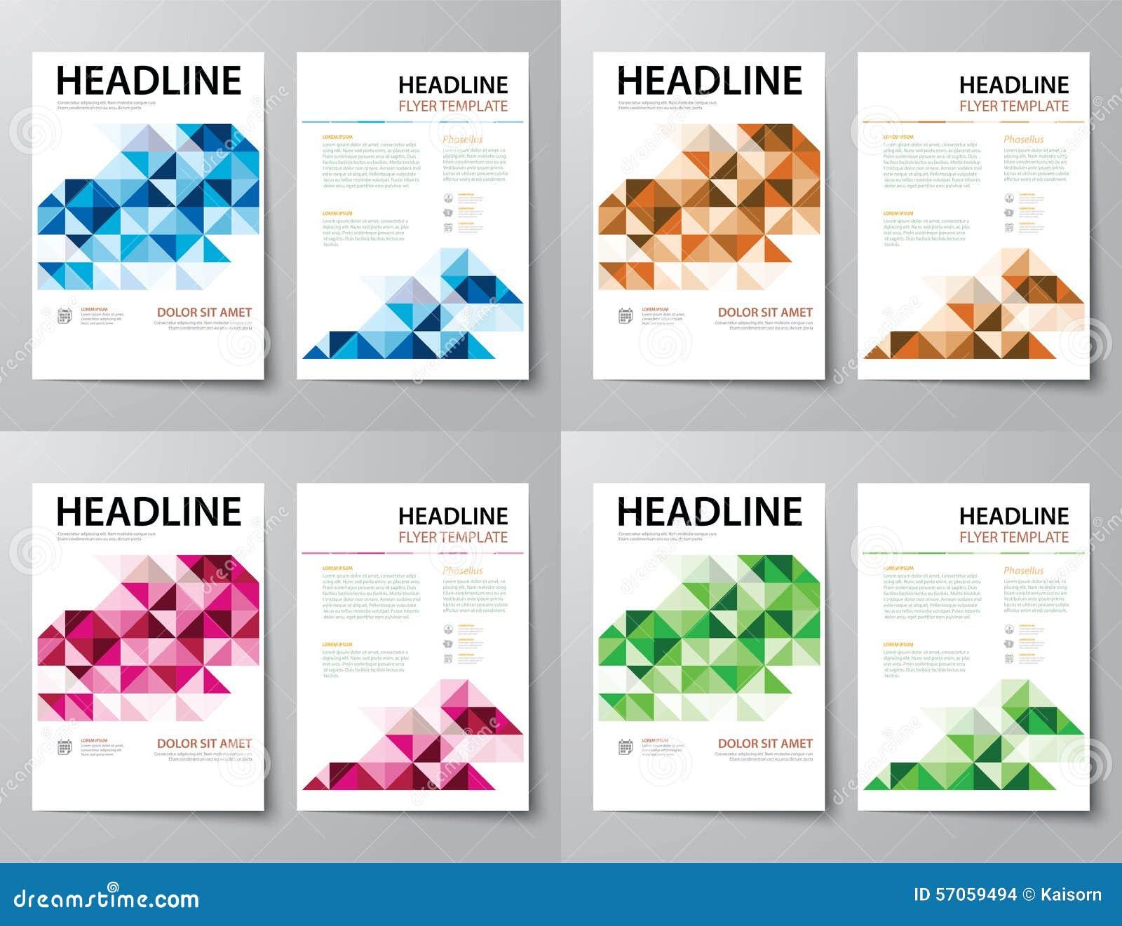 Reeks van abstracte bedrijfstijdschriftdekking, vlieger, brochure vlakke D