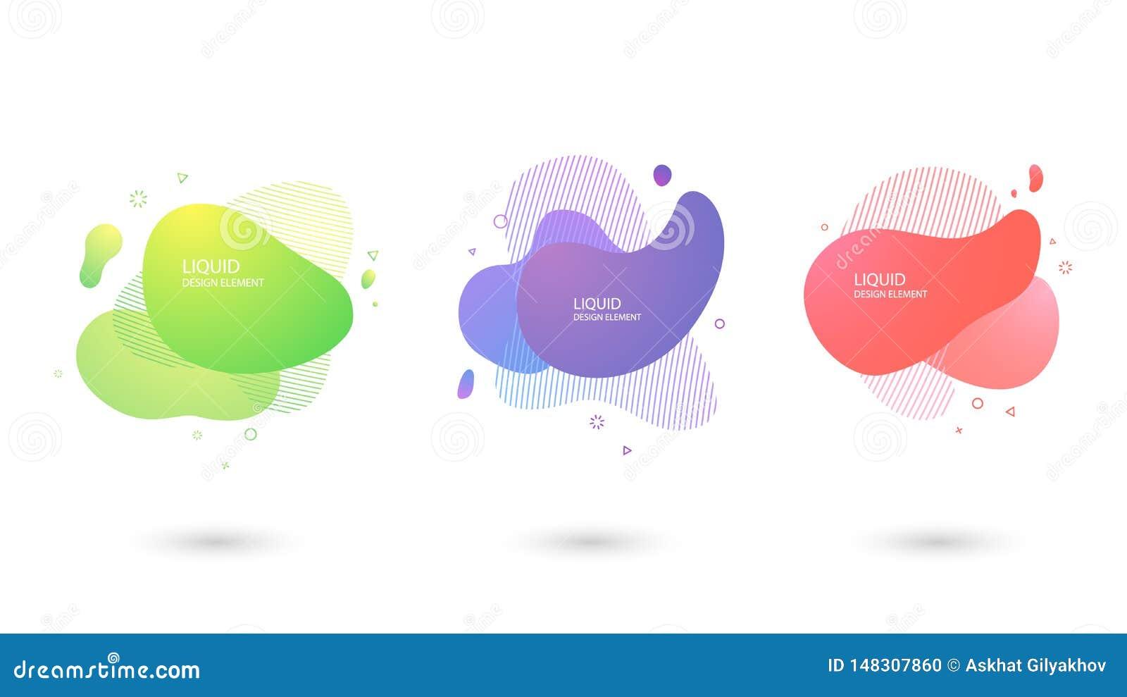Reeks van Abstracte vloeibare vorm, Vloeibaar ontwerp Dynamische gekleurde vormen en lijn
