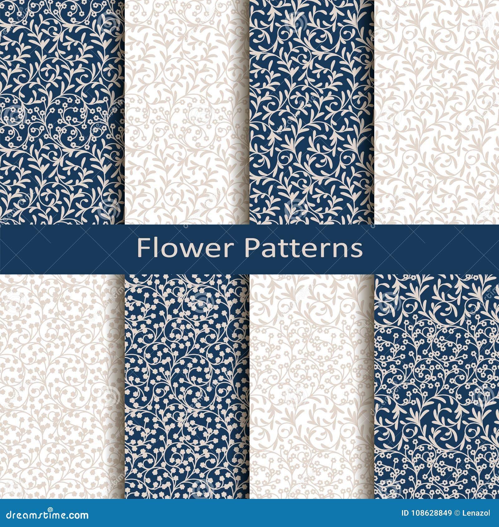 Reeks van acht naadloze vectorbloempatronen ontwerp voor verpakking, dekking, textiel