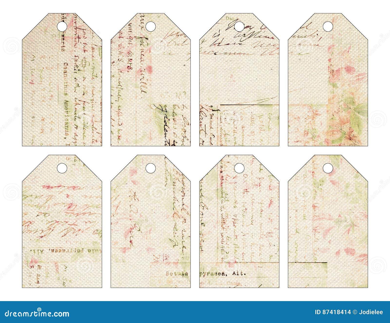 Reeks van acht sjofele elegante grungy uitstekende Kerstmismarkeringen met antiek handschrift