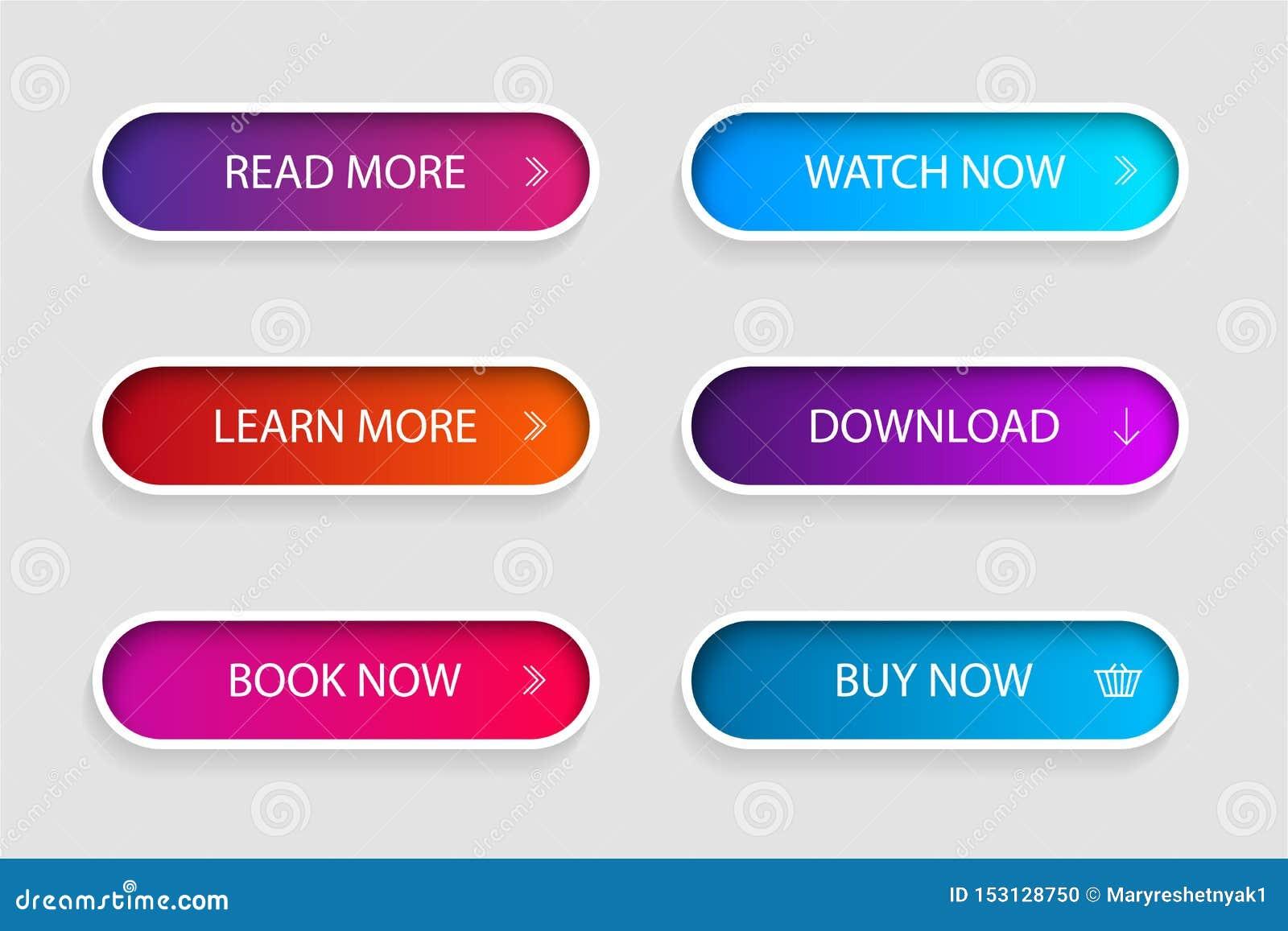 Reeks van in actieknop voor Web, mobiele toepassing Het menu van de malplaatjenavigatieknop Gradiëntpictogram voor winkel, spel,