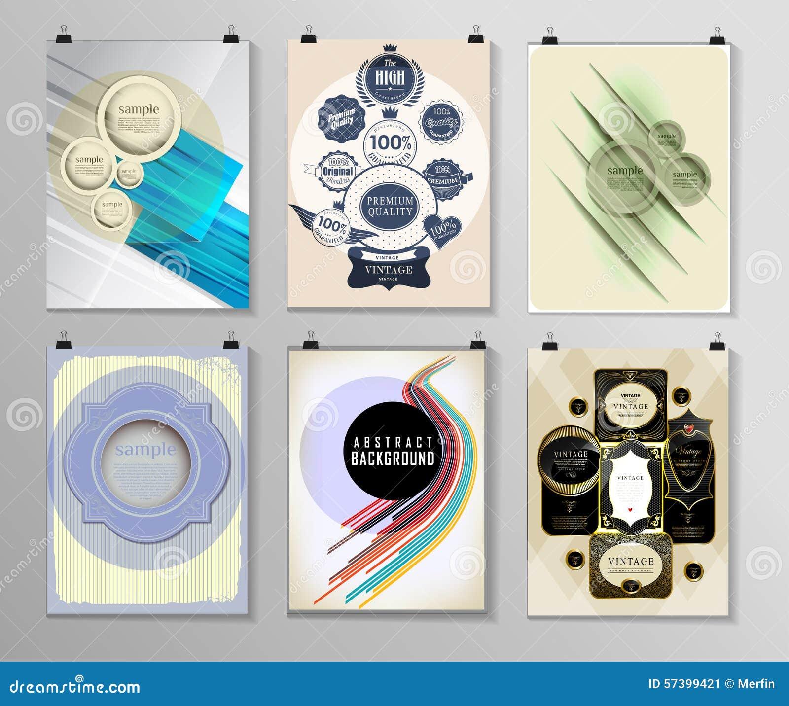 Reeks van affiche, vlieger, de malplaatjes van het brochureontwerp