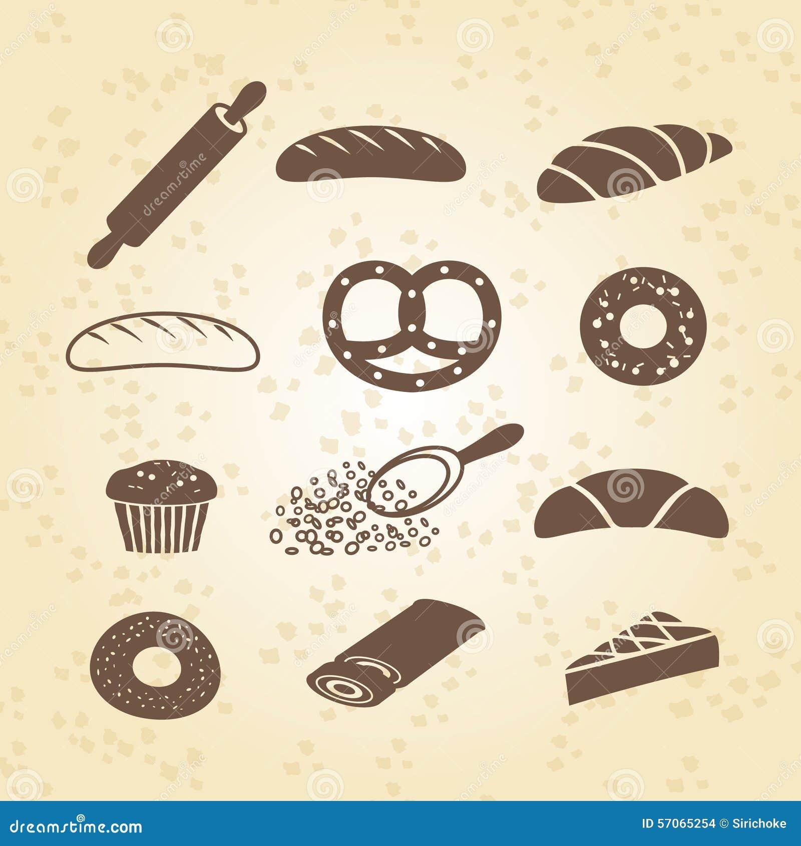 Reeks van bakkerij, gebakje en broodpictogram