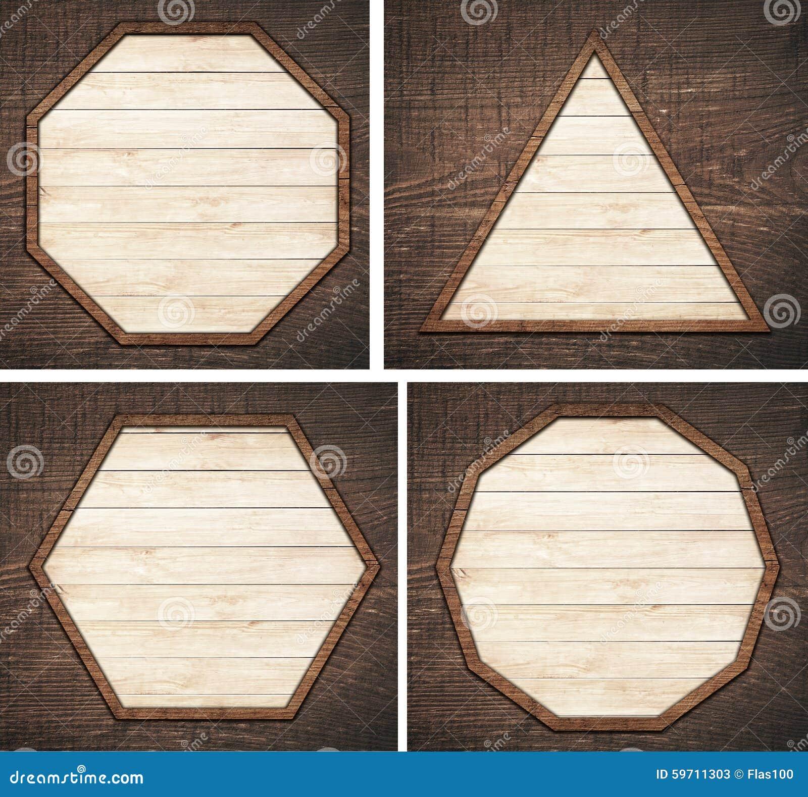 Reeks van bruin houten uithangbord, plaat, planken en