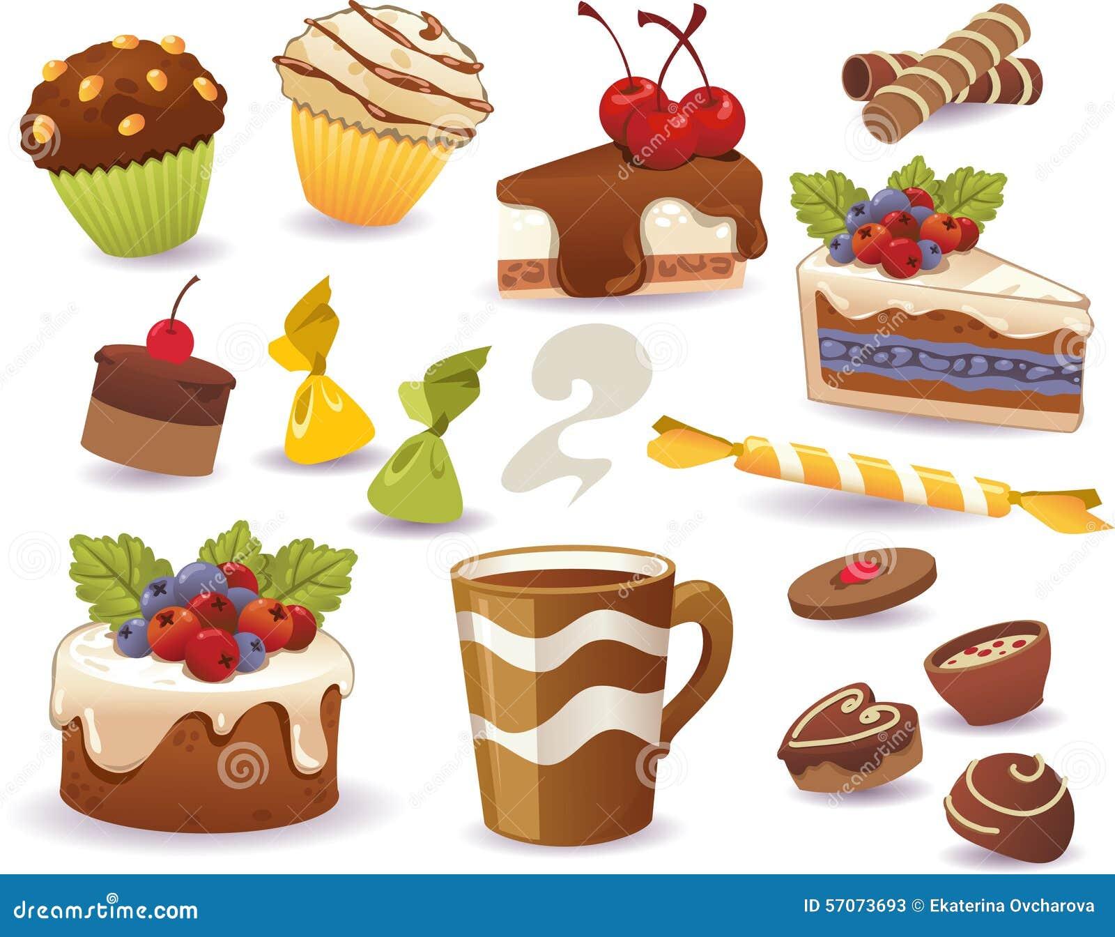 Reeks van cakes en ander zoet die voedsel, op witte achtergrond wordt geïsoleerd
