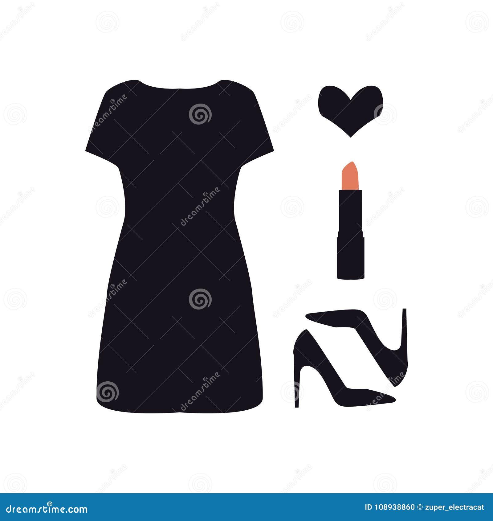 Reeks van damespictogram Zwart eenvoudig kleding, schoenen, lippenstift en hart Vrouwen` s toebehoren De illustratie van de manie