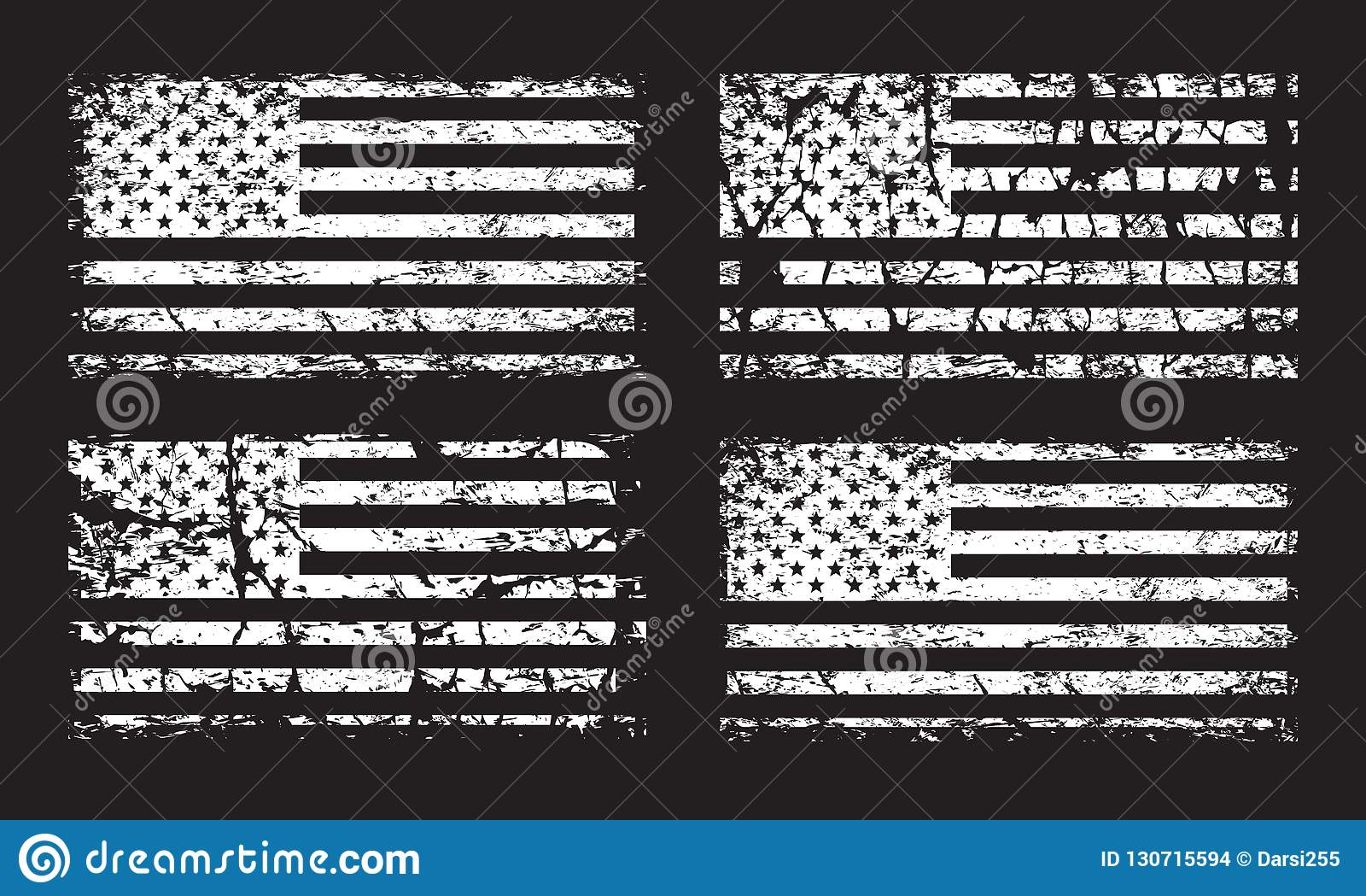 Reeks van de grungevlag van de V.S. de Amerikaanse die, wit op zwarte achtergrond, illustratie wordt geïsoleerd