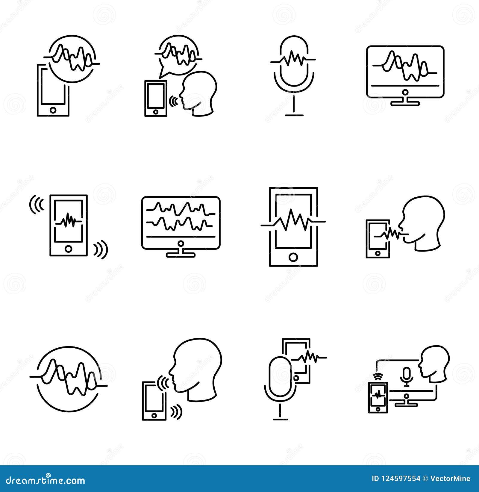 Reeks van de de illustratieinzameling van de stemerkenning de vector Technologie van het digitale mededeling en spreken Handteken