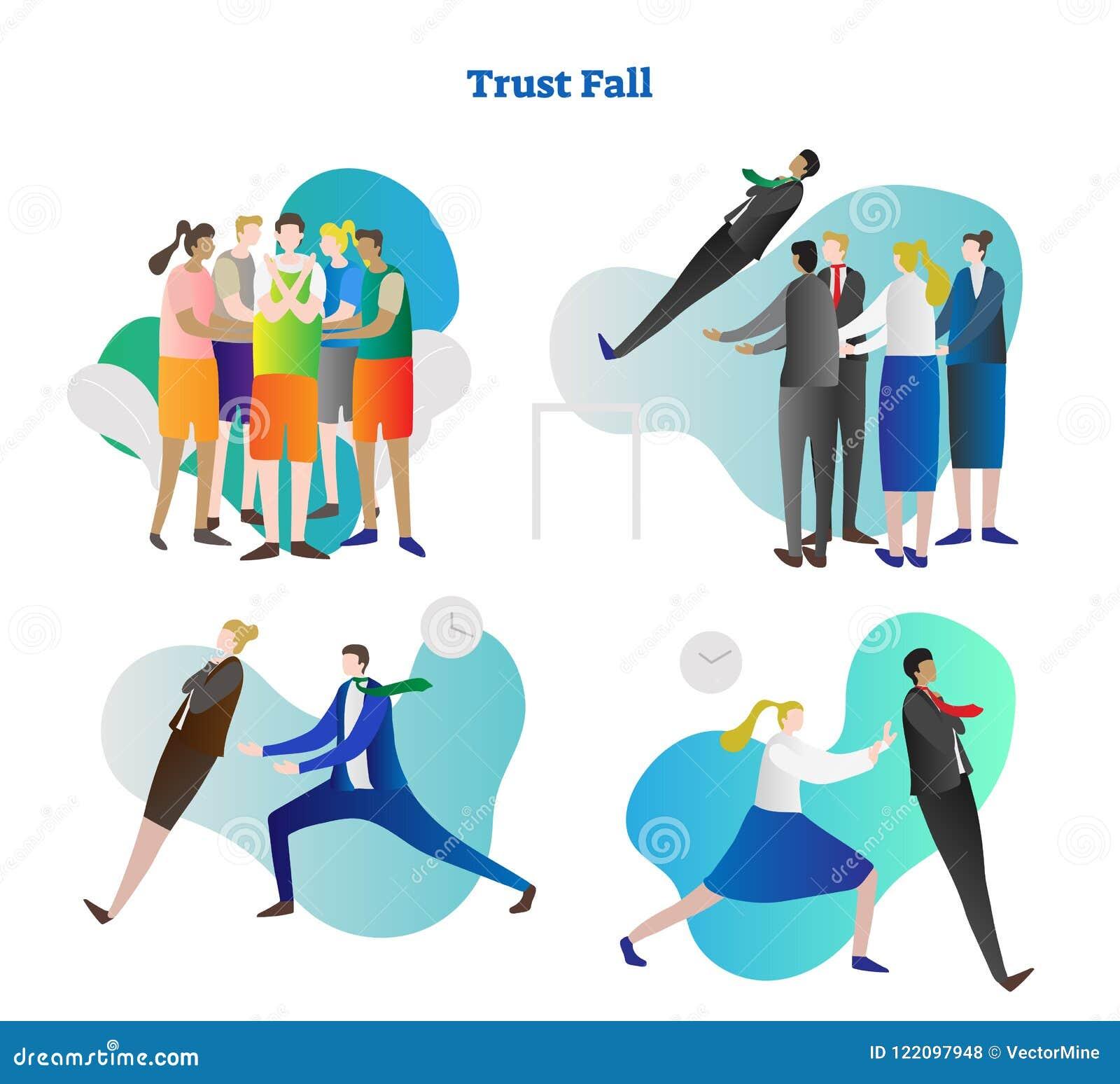 Reeks van de de illustratieinzameling van de vertrouwensdaling de vector Van de de teambouw en collega samenwerking in mensengroe