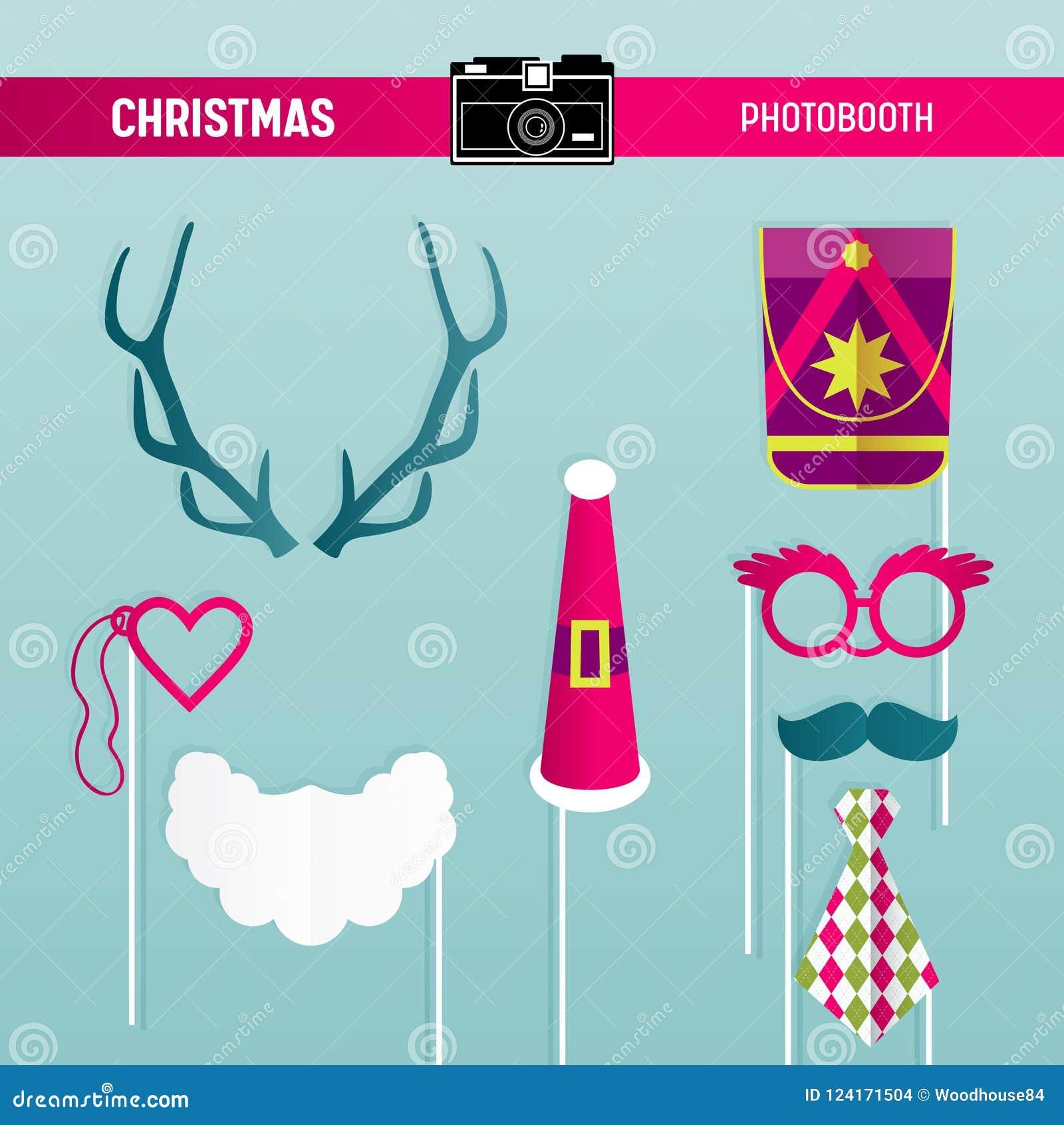 Reeks van de Kerstmis Retro Partij Glazen, Hoeden, Snorren, Baard, Maskers voor photoboothsteunen