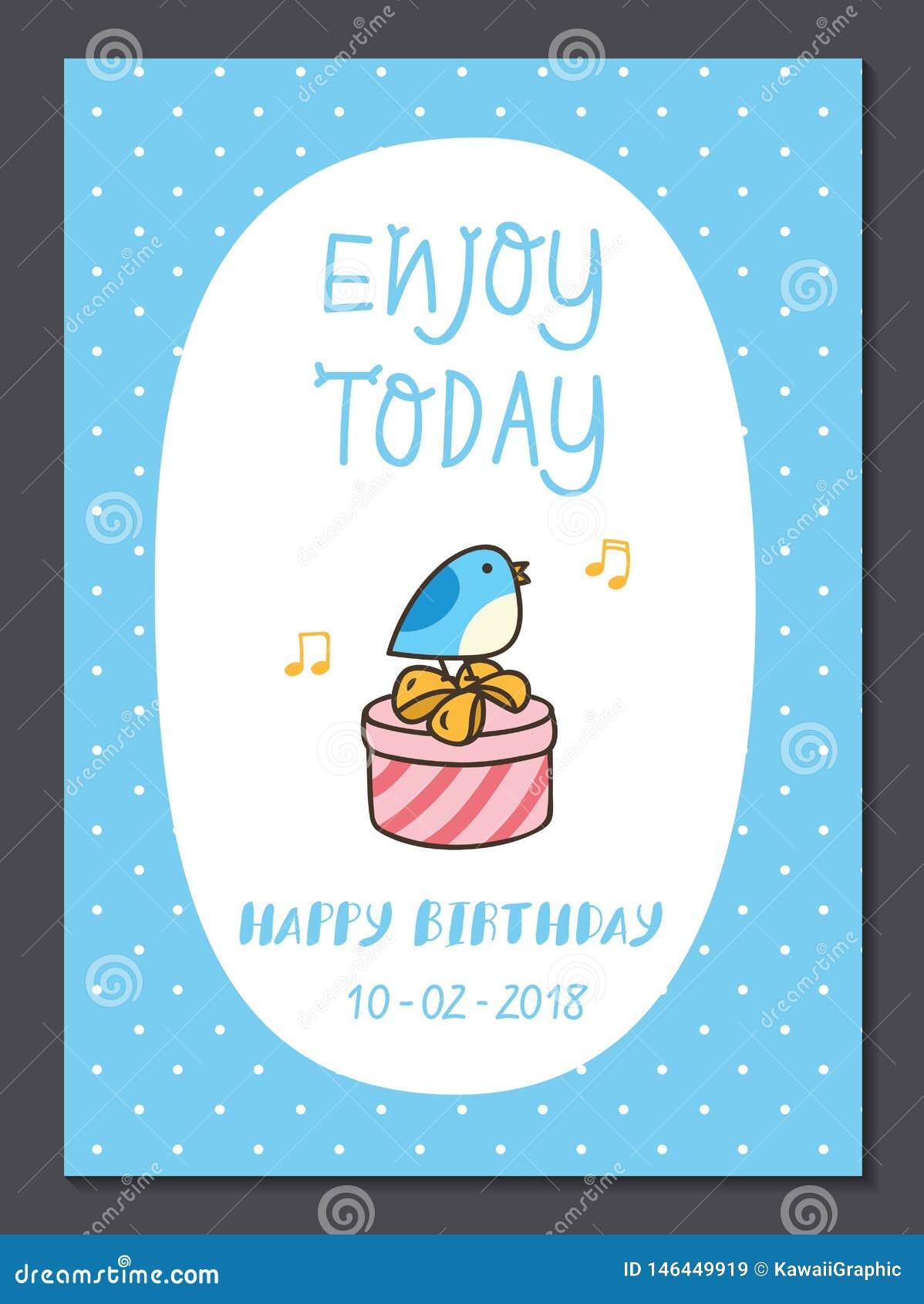 Reeks van de leuke ontwerpsjabloon van de verjaardagskaart