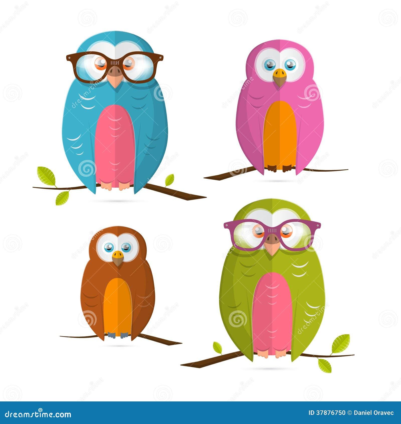 Reeks van de uilen de Vectorillustratie