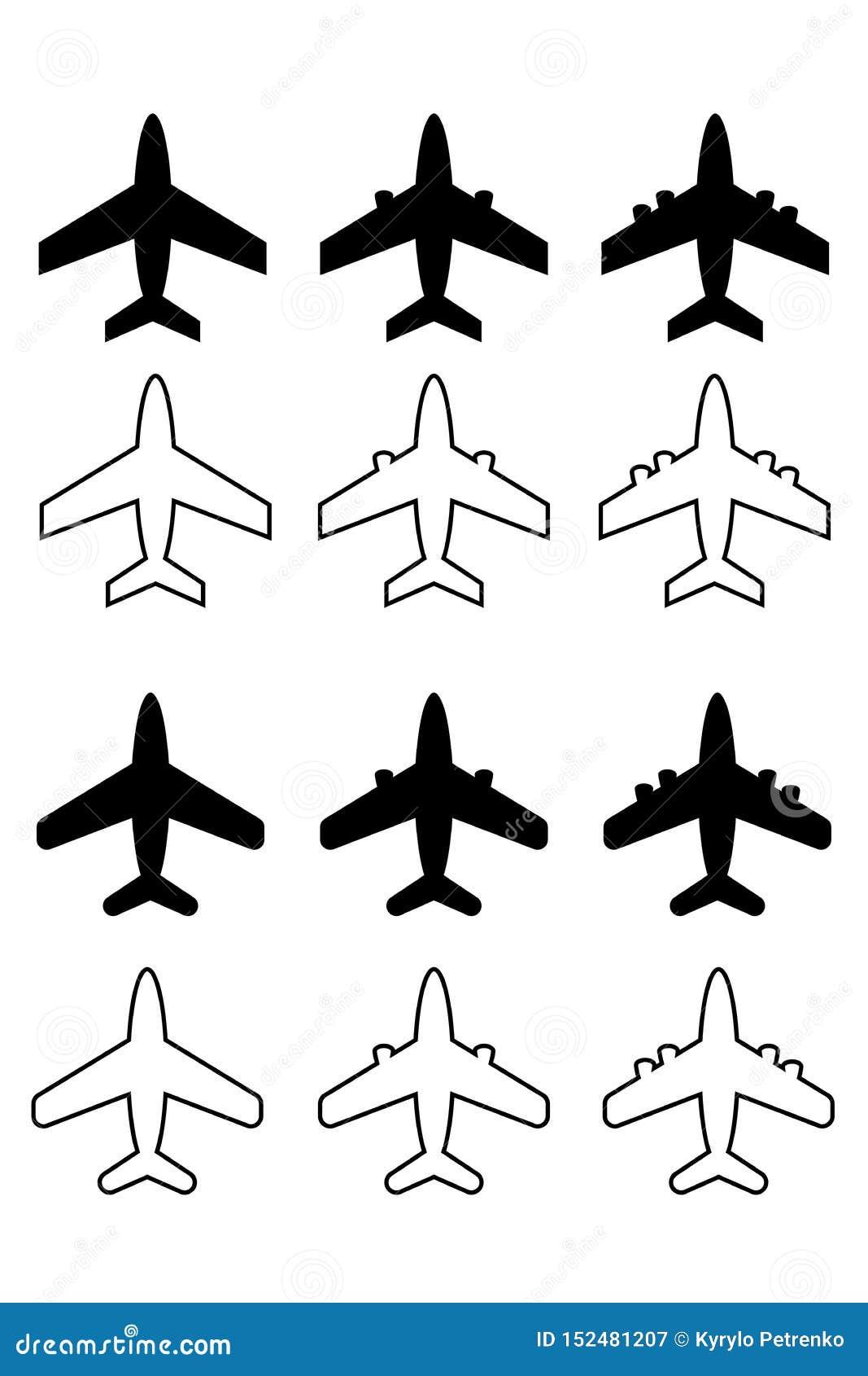 Reeks van de verschillende witte achtergrond van vliegtuigenpictogrammen