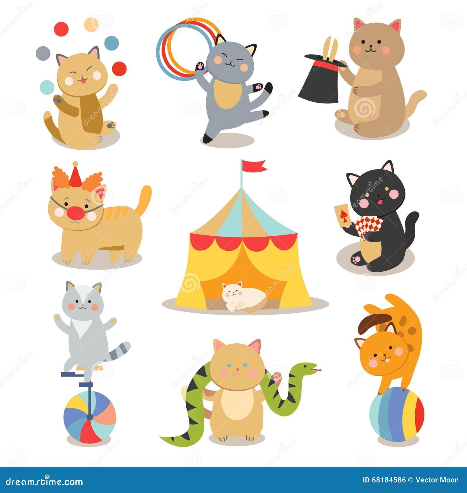 Reeks van de vrolijke vectorillustratie van circus speelkatten