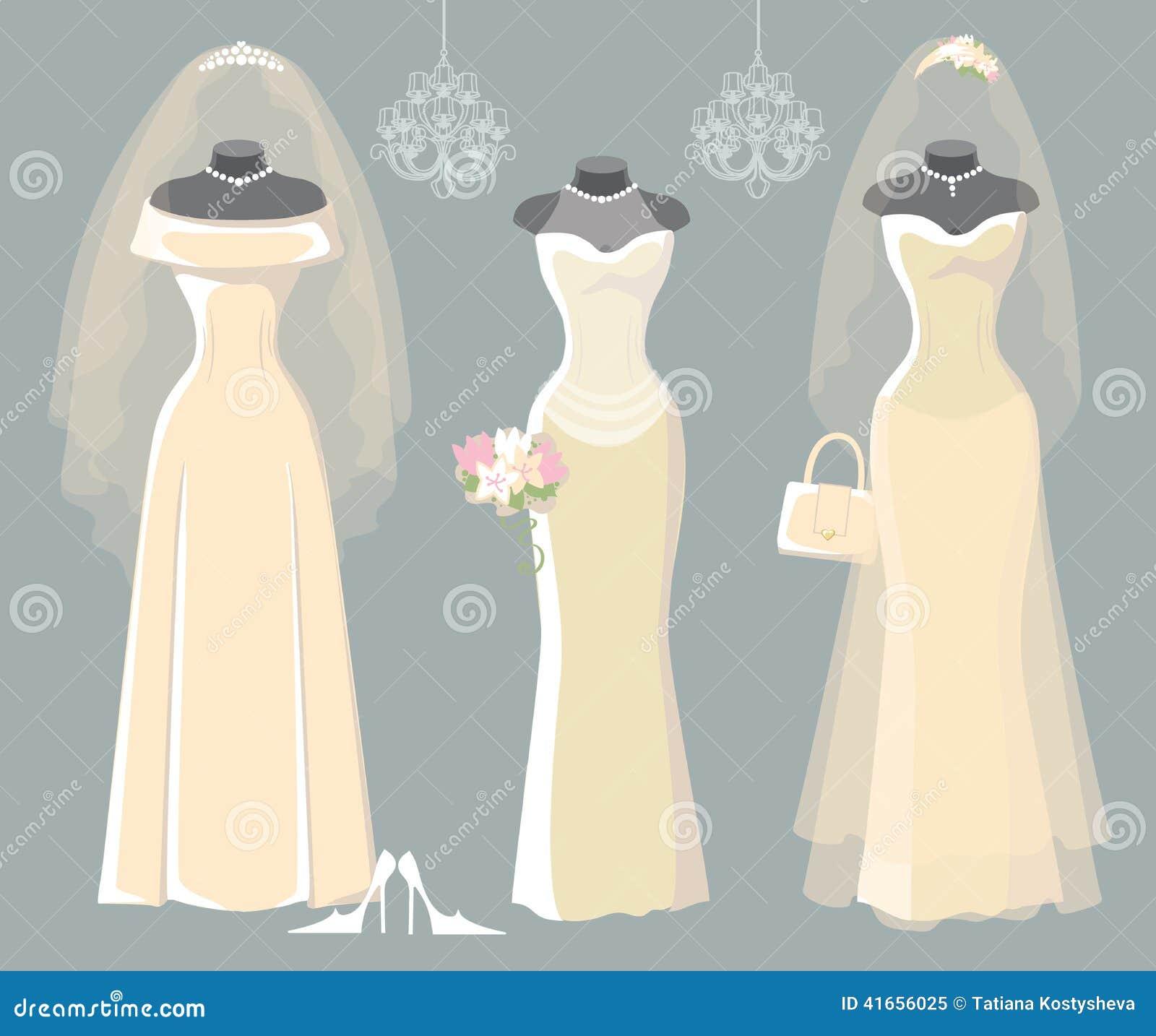 Reeks van drie huwelijks lange kleding