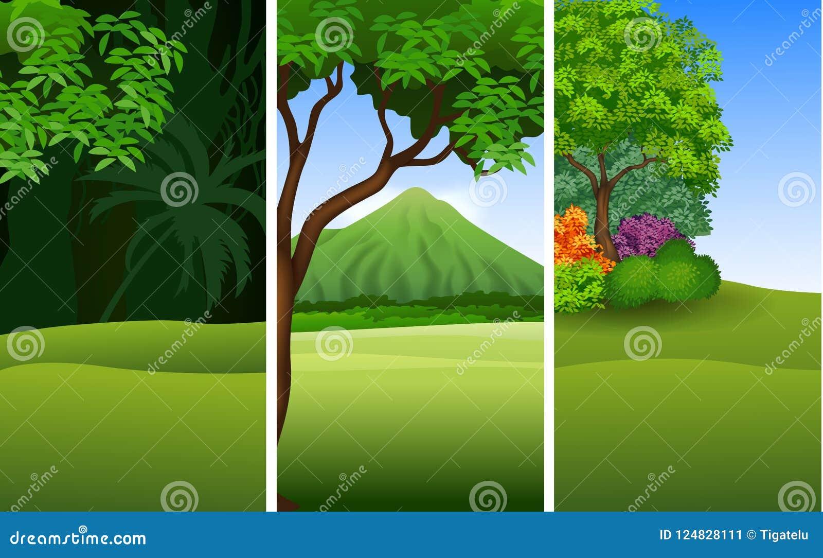 Reeks van drie mooie natuurlijke landschapsachtergrond