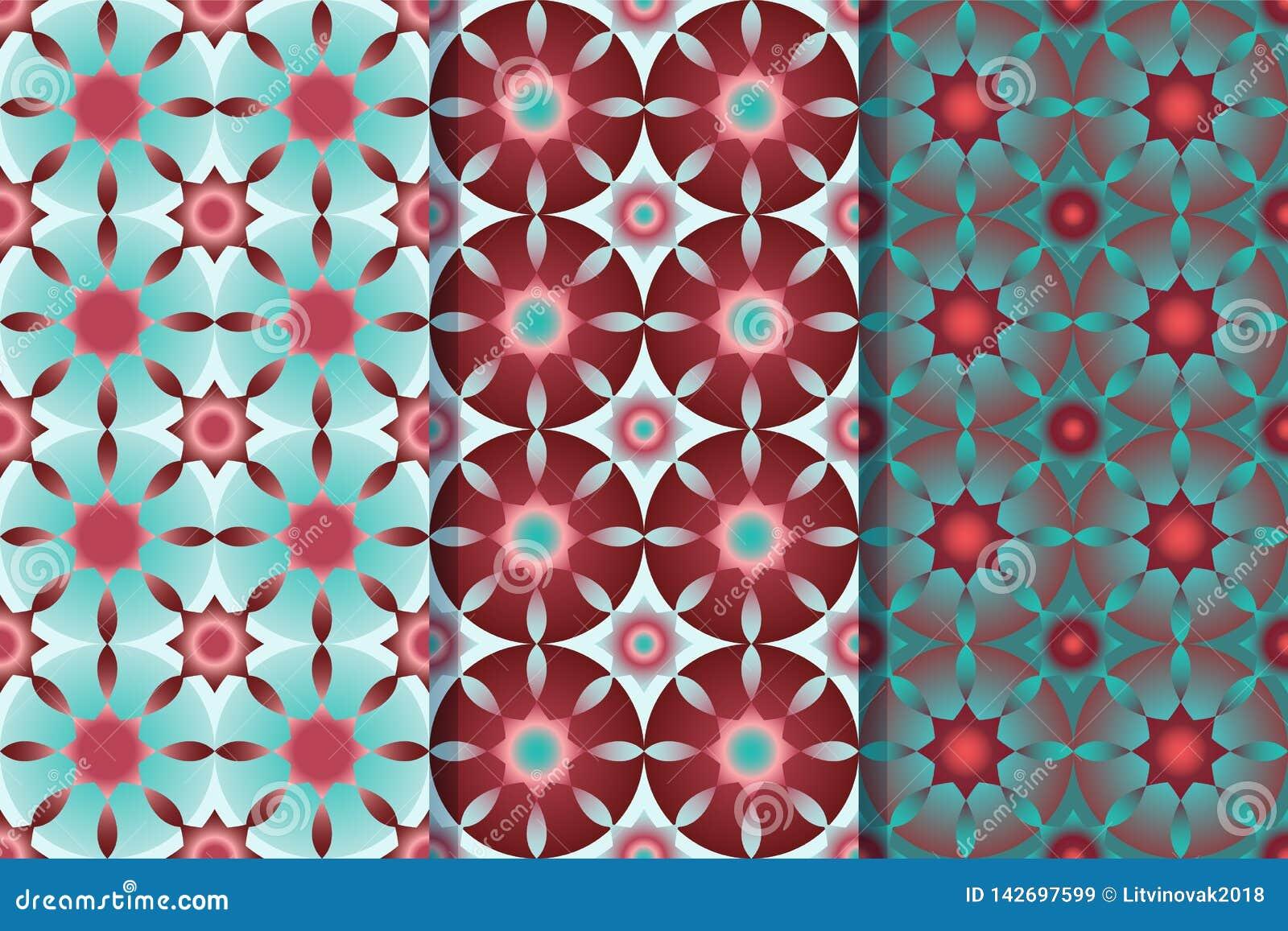 Reeks van drie naadloze patronen met sterren in ??n stijl Kleurrijke illustratie, eps10
