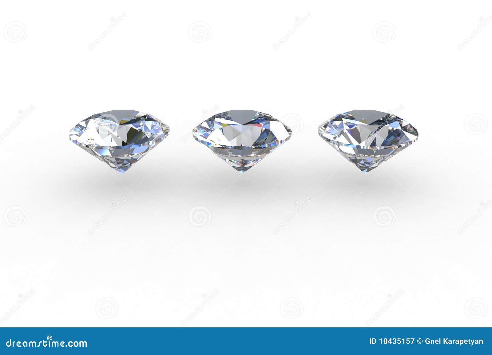 Reeks van drie ronde diamanten