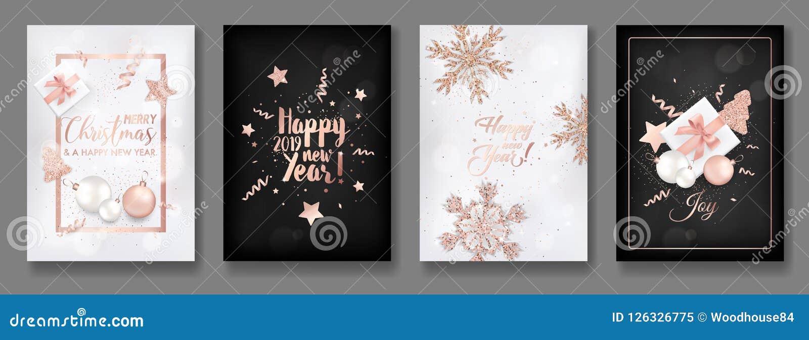 Reeks van Elegant Vrolijk Kerstmis en Nieuwjaar 2019 Kaarten met het Glanzen Rose Gold Glitter Christmas Balls, Sterren, Sneeuwvl