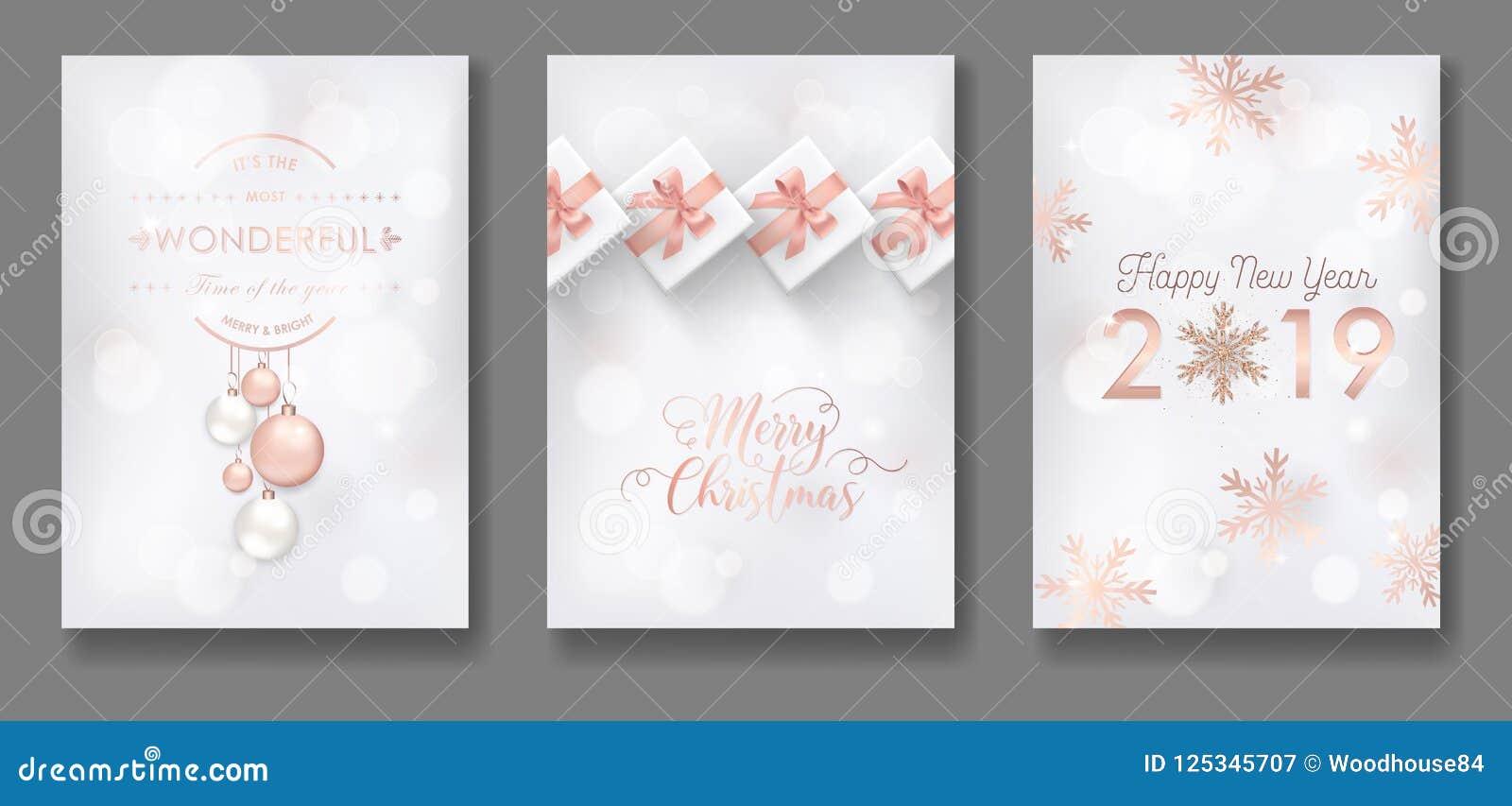 Reeks van Elegant Vrolijk Kerstmis en Nieuwjaar 2019 Kaarten met Kerstmisballen, Sterren, Sneeuwvlokken voor groeten, uitnodiging