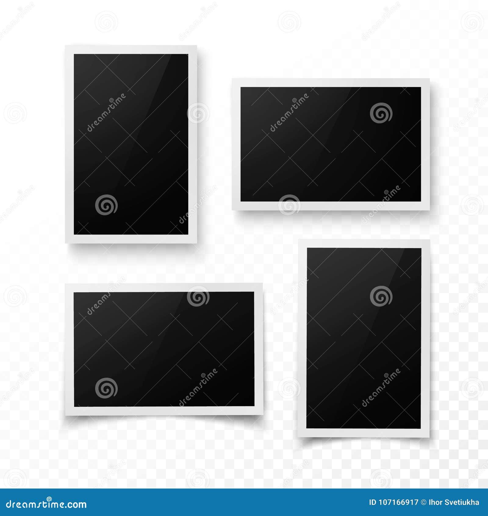 Reeks van fotokader met schaduw Realistisch foto, beeld of pictere grensmalplaatje Fotografiespatie Vector Geïsoleerdel illustrat
