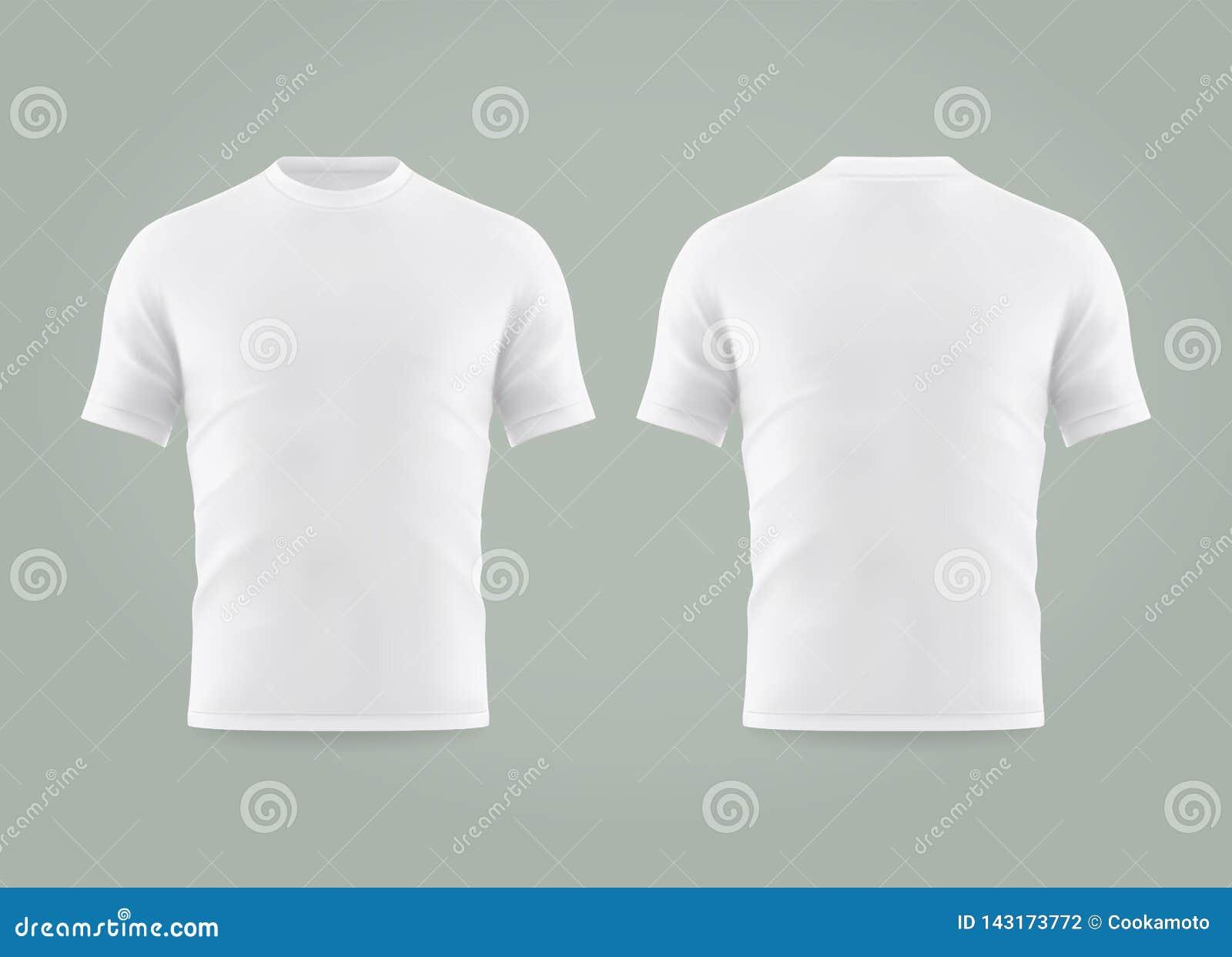 Reeks van geïsoleerde witte t-shirt of realistische kleding