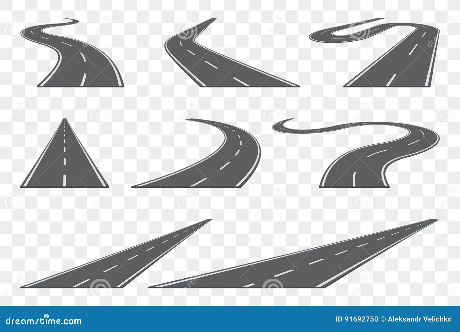 Reeks van gebogen asfaltweg in perspectief Wegpictogrammen