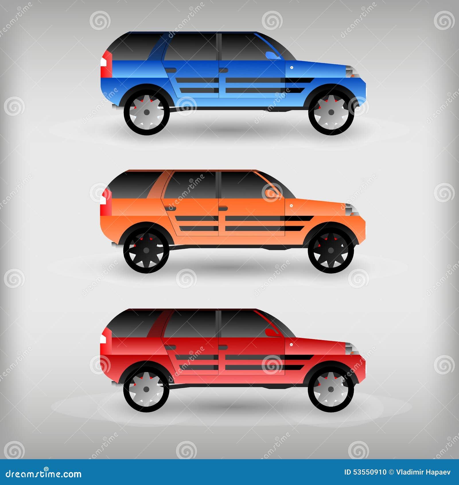 Reeks Van Gekleurde Auto Vector Illustratie Illustration Of Ontwerp 53550910