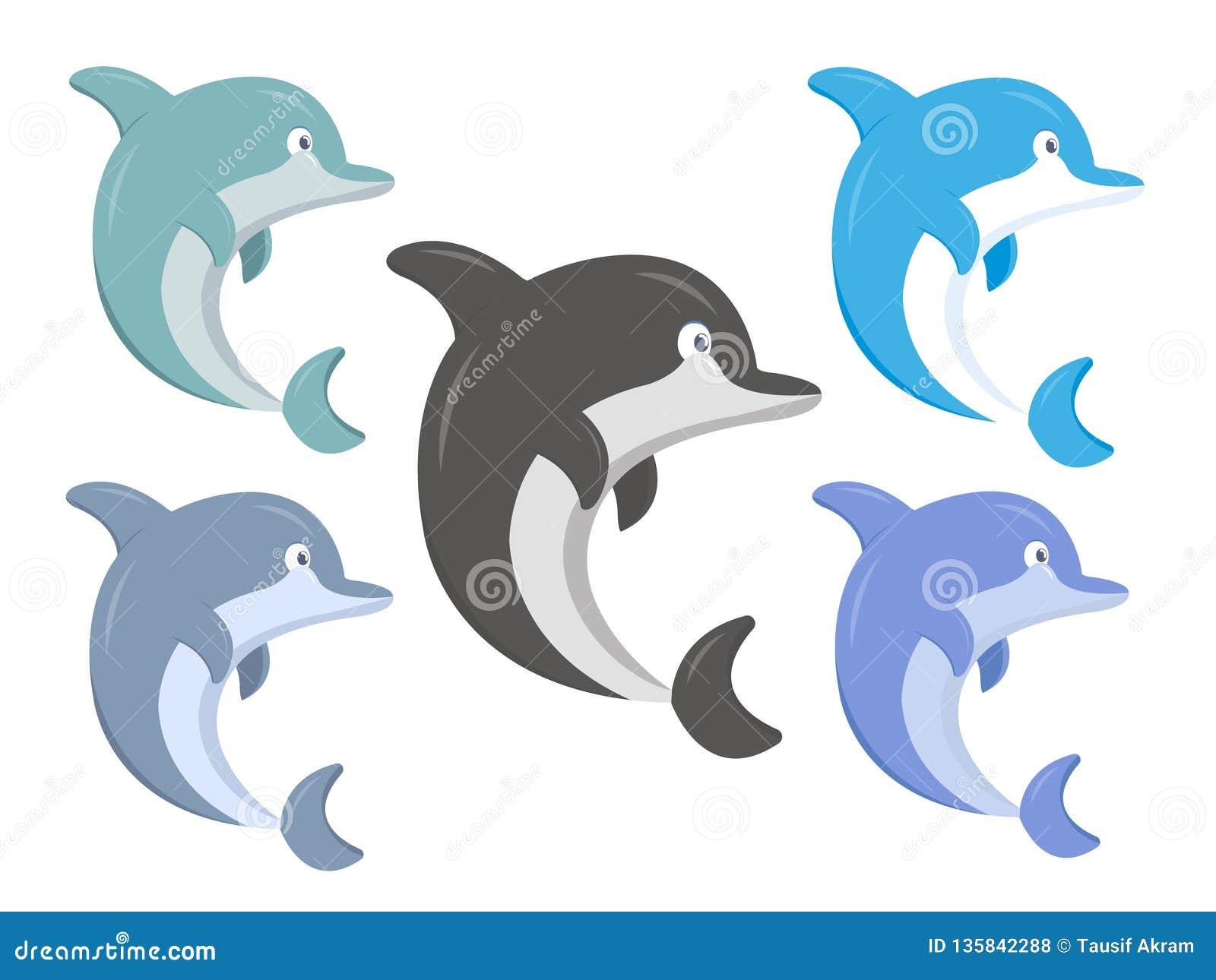 Reeks van gekleurde haaiillustratie
